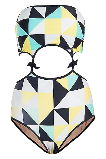 Yellow abstract cutout monokini swimsuit by KAI Resortwear