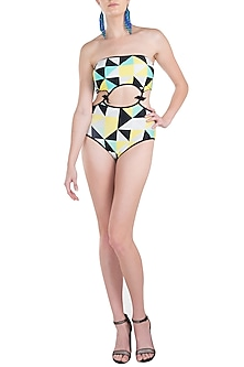 Yellow abstract cutout monokini swimsuit by KAI Resortwear