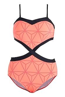 Neon orange triangular heart monokini swimsuit by KAI Resortwear