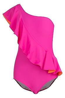 Pink tone one shoulder ruffle swimsuit by KAI Resortwear