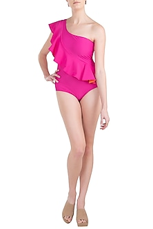 Pink tone one shoulder ruffle swimsuit by KAI Resortwear