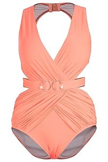 Neon orange drape brooch belted swimsuit by KAI Resortwear