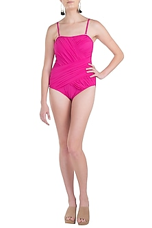 Pink strapless drape swimsuit by KAI Resortwear