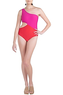 Pink duo tone one shoulder swimsuit by KAI Resortwear