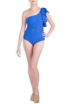 Royal blue one shoulder belted swimsuit by KAI Resortwear