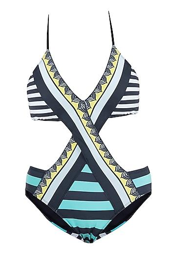 Mint striped crossover monokini swimsuit by KAI Resortwear