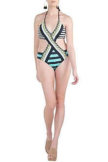 Mint striped crossover monokini swimsuit by KAI Resortwear