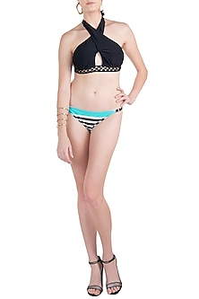 Black halter metal mesh bikini by KAI Resortwear