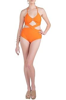 Orange embellished cross front monokini swimsuit by KAI Resortwear