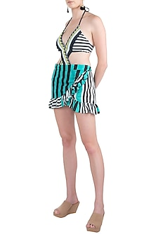 Multi coloured striped ruffled shirt coverup by KAI Resortwear