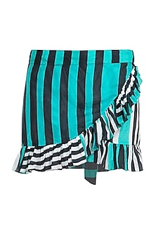 Multi coloured striped ruffled shirt coverup by KAI Resortwear