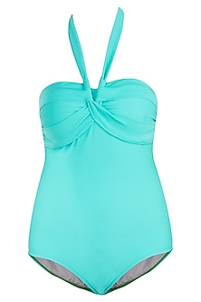 Mint blue contra twist swimsuit by KAI Resortwear