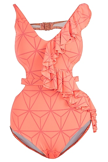 Neon orange triangular ruffled swimsuit by KAI Resortwear