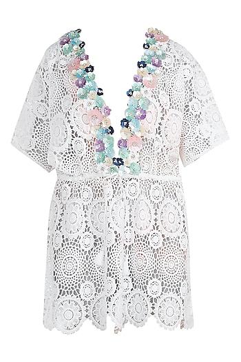 White embellished kaftan cover up by KAI Resortwear