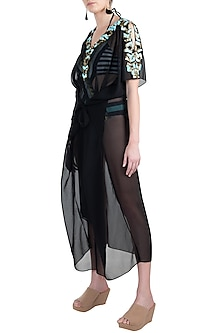 Black embellished long kaftan coverup by KAI Resortwear