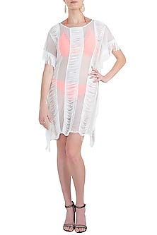 White lace and fringe cover up by KAI Resortwear