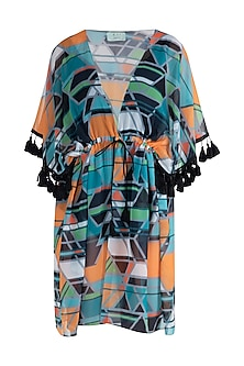 Orange geo print tassel kaftan coverup by KAI Resortwear