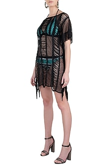 Black fringe and lace coverup by KAI Resortwear