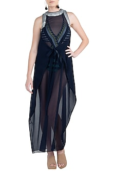 Navy blue coin racer drape coverup dress by KAI Resortwear