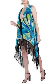 Blue luna fringe cape cover up by KAI Resortwear