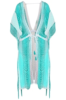 White fringe and lace coverup by KAI Resortwear