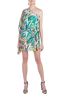 Green neo printed embellished one shoulder kaftan cover up by KAI Resortwear