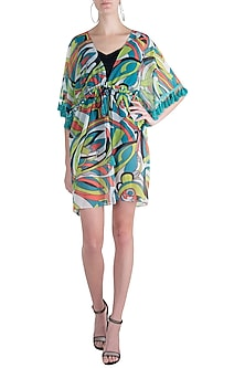 Green neo printed tassel kaftan cover up by KAI Resortwear