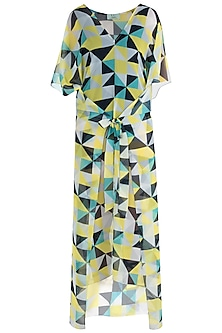 Yellow abstract seamless kaftan coverup by KAI Resortwear