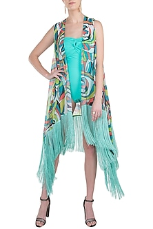 Blue neo fringe cape cover up by KAI Resortwear