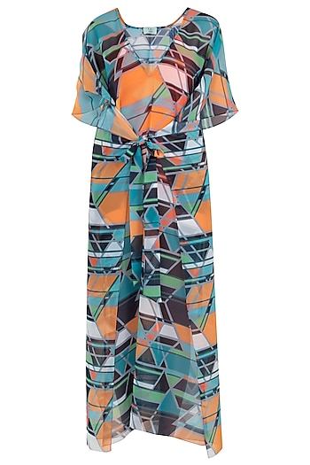 Green geo print twist kaftan coverup by KAI Resortwear
