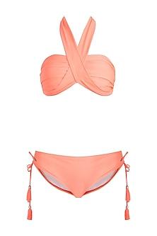Neon orange multiway bandeau halter bikini set by KAI Resortwear