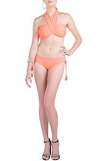 Neon orange multiway bandeau halter bikini set by KAI Resortwear