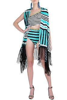 Mint striped fringe cape cover up by KAI Resortwear