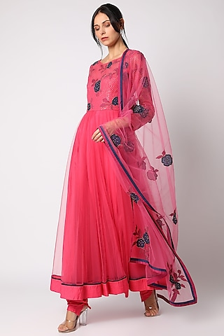 Pink Floral Anarkali Set by Shehla Khan