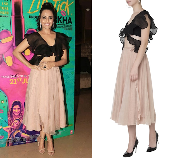 Black Ruffled Tube Top with Nude Midi Skirt by Shehla Khan