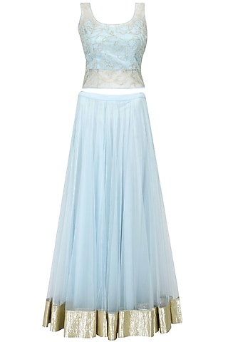 Light Blue Pearl Embroidered Lehenga Set by Shehla Khan