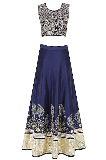Midnight Blue Zari Embroidered Sequinned Lehenga Set by Sakshi Gupta