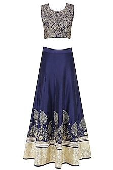 Midnight Blue Zari Embroidered Sequinned Lehenga Set by Sakshi Gupta