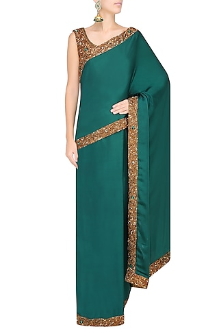 Bottle Green Nakshi Embroidered Saree With Antique Gold Blouse by Sakshi Gupta