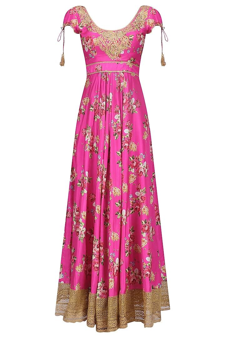 Pink Floral Embroidered Anarkali Kurta Set by Seema Khan