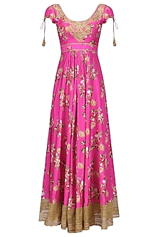 Pink Floral Embroidered Anarkali Kurta Set by Seema Khan