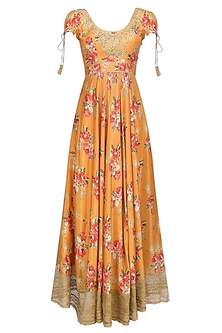 Orange Floral Embroidered Anarkali Kurta Set by Seema Khan