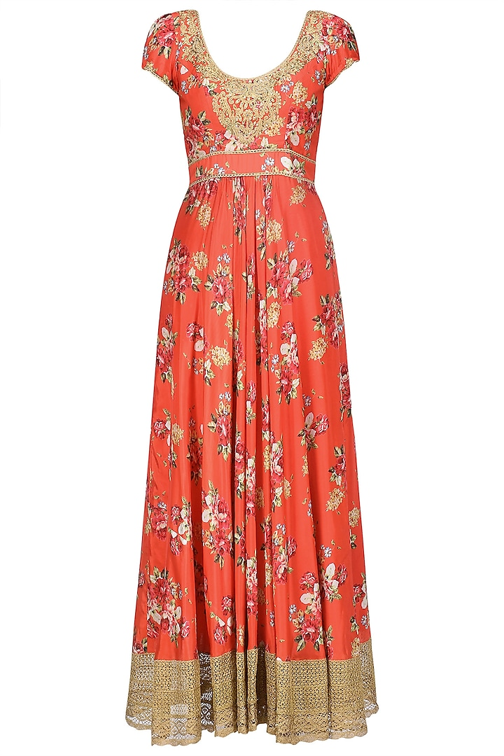 Red and Gold Floral Embroidered Anarkali Kurta Set by Seema Khan