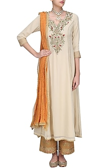 Beige Floral Embroidered Kalidaar Kurta Set with Orange Dupatta by Seema Khan