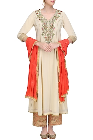 Beige Floral Embroidered Kalidaar Kurta Set with Red Dupatta by Seema Khan