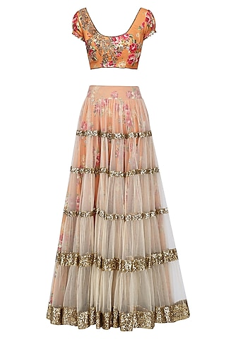 Beige Lehenga Skirt and Orange Floral Embroidered Blouse Set by Seema Khan