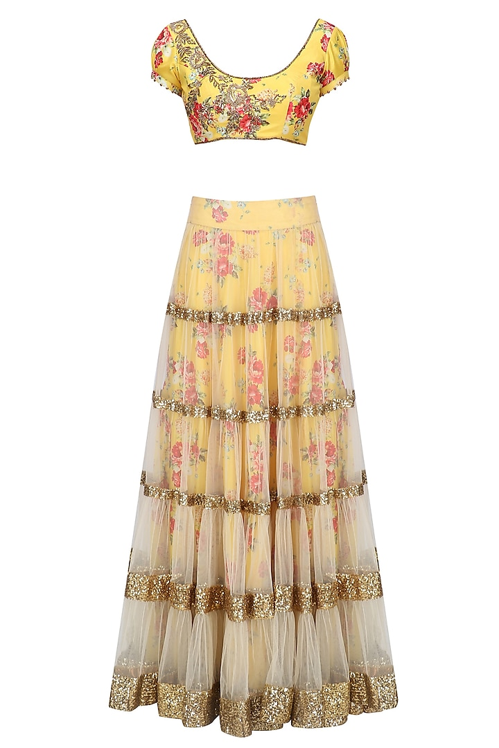 Beige Lehenga Skirt and Yellow Floral Embroidered Blouse Set by Seema Khan