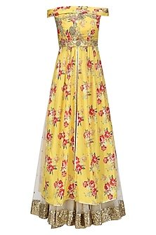 Yellow Floral Embroidered Off Shoulder Kurta and Skirt Set by Seema Khan