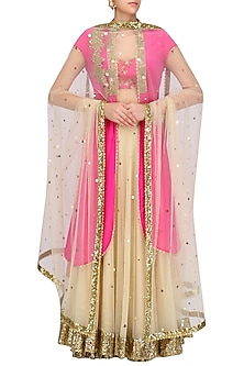 Beige Lehenga Skirt with Pink Floral Printed Blouse and Jacket by Seema Khan