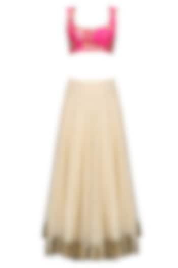 Beige Lehenga Skirt and Pink Floral Work Blouse Set by Seema Khan